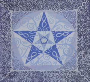 """Mandalamålning 5 """"INTUITIV KOMMUNIKATION"""" - Ett evigt informationsutbyte mellan ande och materia"""